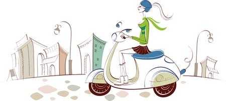 city landscape: Vector City Woman Lifestyle Illustration
