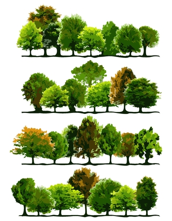 Vector Tree Group Element Illustration, collection of green tree with nicely arrangement Illustration