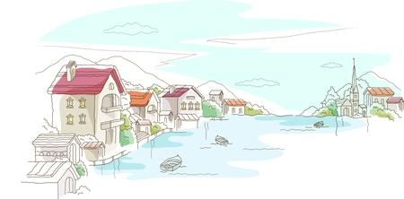 imaginative: Vector Cartoon Imaginative City Illustration, peaceful town and village Illustration
