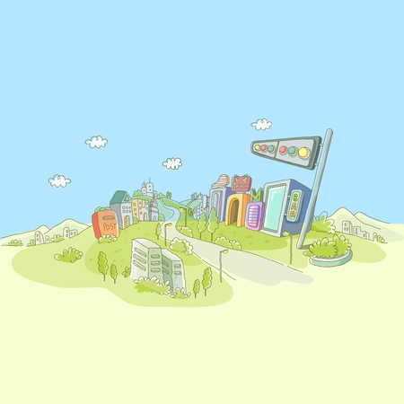 hill top: Vector Cartoon Imaginative City Illustration, futuristic city on hill top