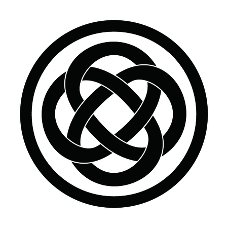 Vector Simple Classic Celtic Knot Circle, monocolor illustrated on white background