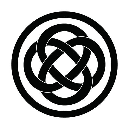 nudos: Vector clásico simple nudo celta Círculo, monocolor ilustra en el fondo blanco