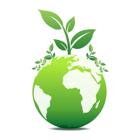 Vector 3D Green Earth Illustration, isolated on white background