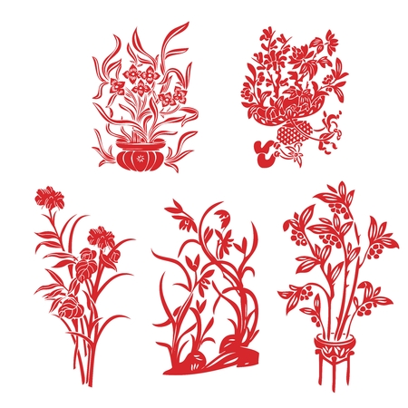 fortune flower: Vector Chinese Floral Illustration, paper cutting style for Chinese New Year
