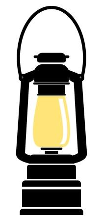 lampada: Vector semplice lampada ad olio illustrazione piatto, due colori disegno isolato su sfondo bianco