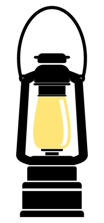 yellow lamp: Vector Simple Oil Lamp Flat Illustration, two colors drawing isolated on white background