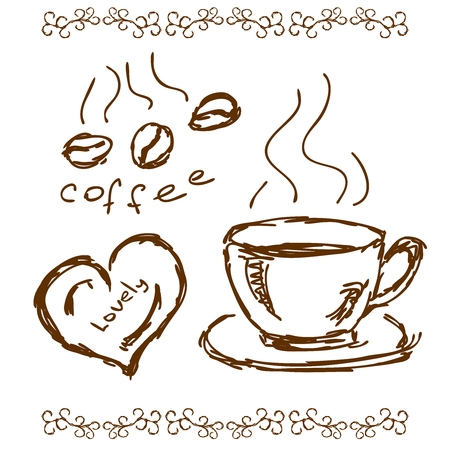 feeling happy: Vector Coffee Illustration Doodling, beans, cup and happy feeling
