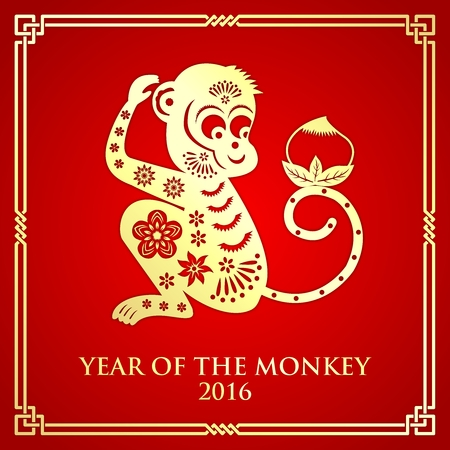 ornement de singe chinois de style de coupe de papier pour la nouvelle année lunaire, Année de singe