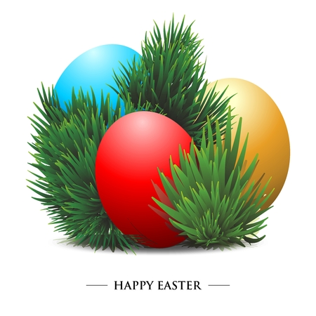 pine needles: Vector 3D Easter Eggs, with pine needles