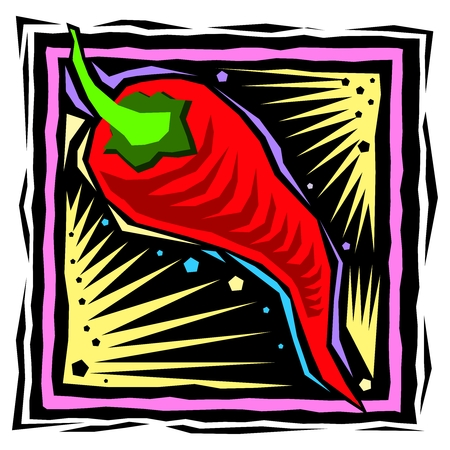 rock and roll: Vector Rock  Roll Mexican Chili Pepper Sticker Illustration Illustration