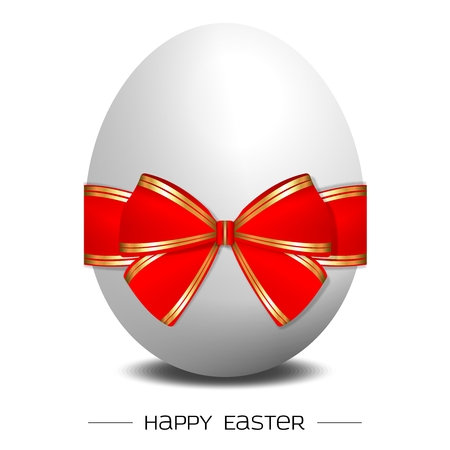 red ribbon week: Vector 3D Silver Easter Egg, with red  gold gift knot