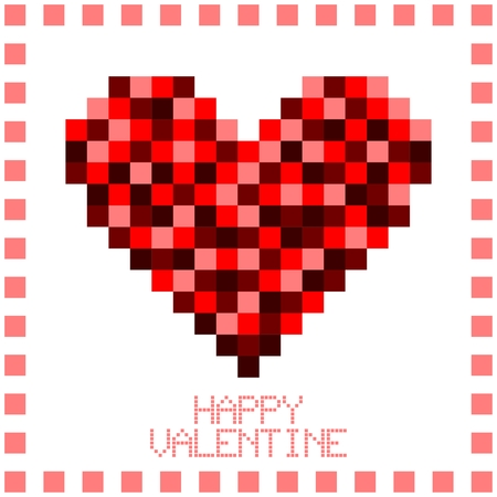 puzzle heart: Vector Valentine Lovely Heart Illustration, pixelated puzzle or mosaic design Illustration
