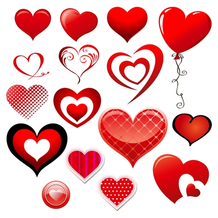 Vector Valentine Lovely Heart Illustration, a collection of heart shape icon and symbol 矢量图像