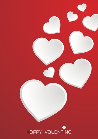 dating: Vector Valentine Lovely Heart Illustration, group of flying white heart on red background Illustration