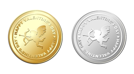 silver coins: Vector Valentine Cupid Coin Illustration, Gold and Silver Coin