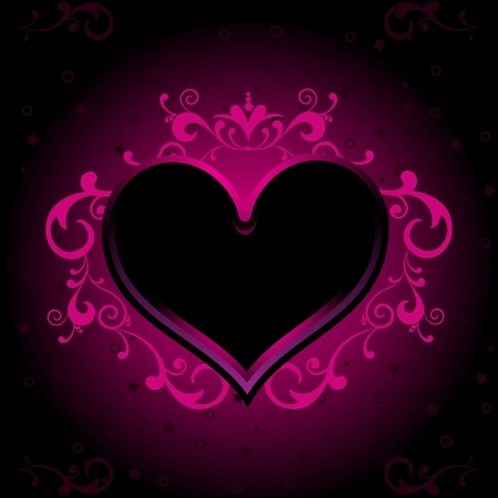 abstract pink: Vector Valentine Glowing Heart on dark background Illustration Illustration