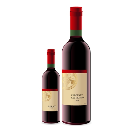 Vector Realistic 3D Wine Bottle isolated on White Background Illustration