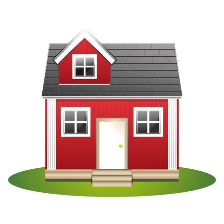 casa de campo: 3D simple ilustración de la casa de madera en el césped natural