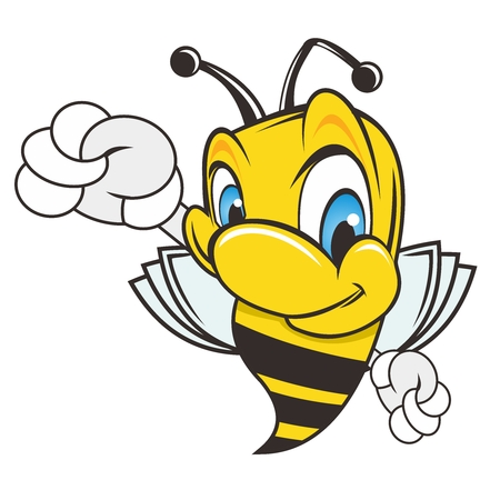 Fröhlich Honeybee Cartoon Charakter Abbildung auf weißem Hintergrund Vektorgrafik