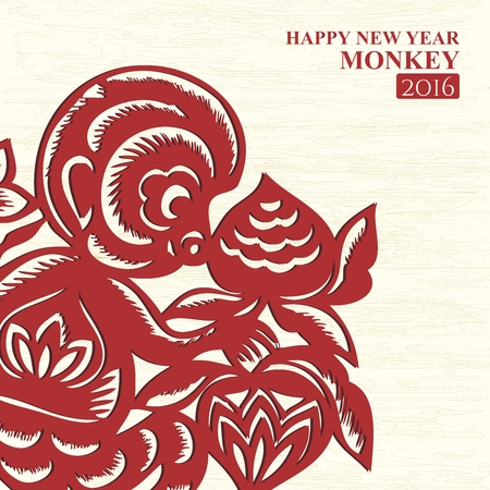 chinese postage stamp: Year of Monkey Greeting Card for 2016
