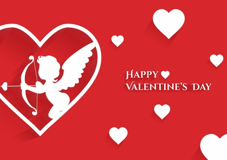 valentine card: Happy Valentine Greeting Card with Cupid Horizontal Print