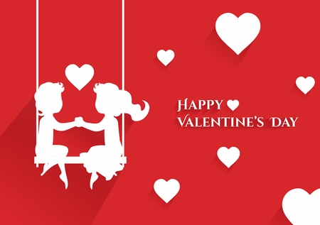 valentine card: Happy Valentine Greeting Card with Couples Horizontal