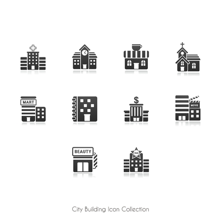 Urban Infrastructure Icon Collection, black color isolate on white