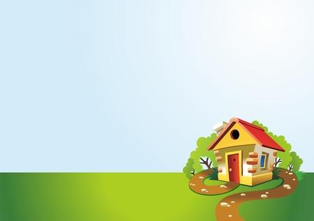 path cottage garden: Village House Background Illustration, classic cartoon
