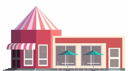 shopfront: Retro Classic Open Coffee Shop Exterior