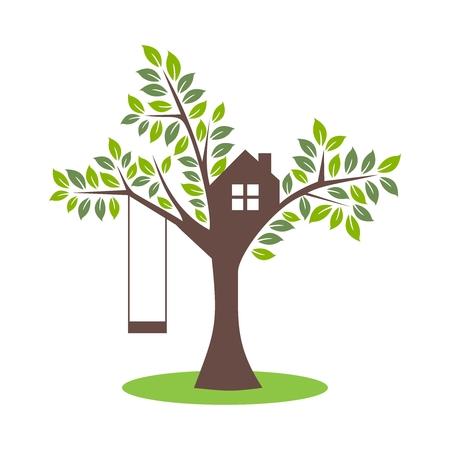 Simple Tree House with Swing Illustration