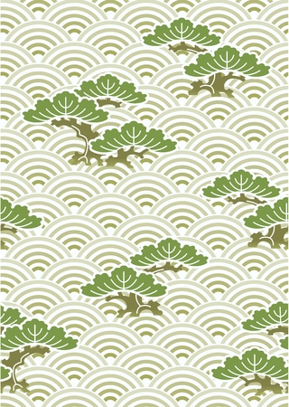 Vector Seamless Repetaing Japanese Pattern Illustration, Pine Tree and Waves