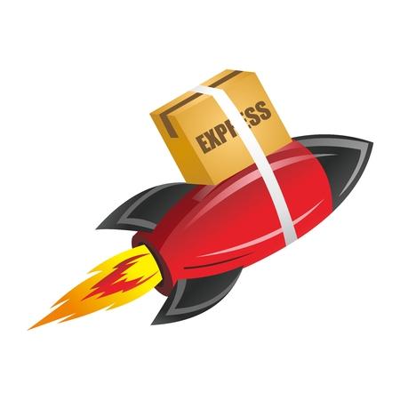 ballistic missile: Vector 3D Creative Rocket Express Cargo Delivery Illustration Illustration