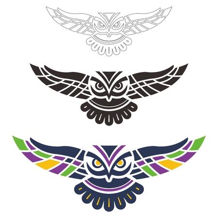 Vector Tribal Spread Wings Owl Illustration on white background Vettoriali