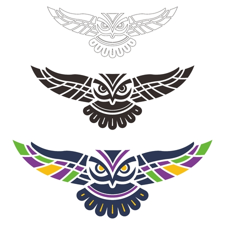 spread wings: Vector Tribal Spread Wings Owl Illustration on white background Illustration