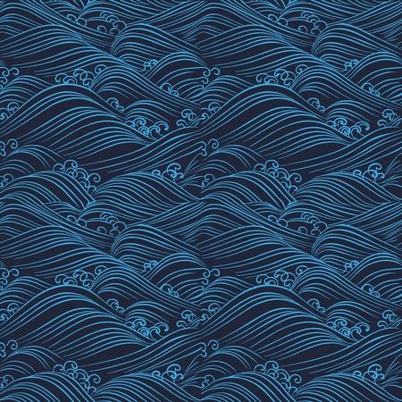 Vector Seamless Repetaing Japanese Pattern Illustration, bleu vague de l'océan sur la conception de fond noir Vecteurs