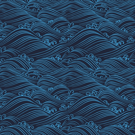 Vector Seamless Repetaing Japanese Pattern Illustration, blue ocean wave on black background design