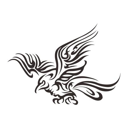 Ilustración artística del vector tribal del tatuaje de Phoenix del vuelo aislado en el fondo blanco