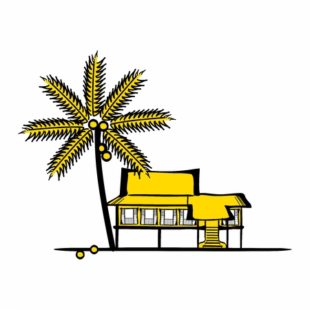 resort: Vector Exotic Beach Resort Illustration with coconuts tree background