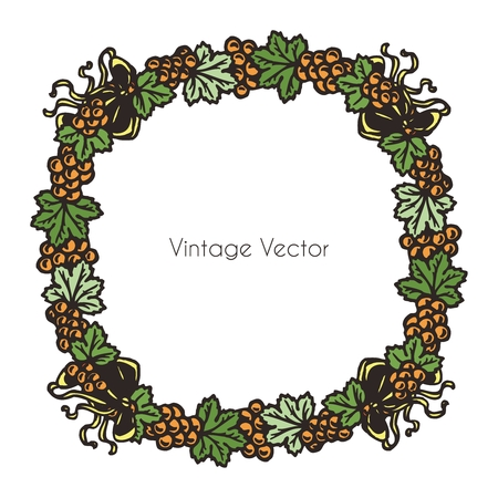 oval  alcohol: Vector Creative Vintage Grapevine Ornament Round Border Illustration