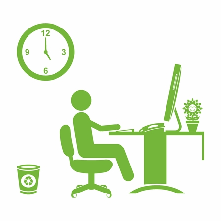 soho: Vector Conceptual Healthy Green Office Illustration, Collection of office equipment on white background