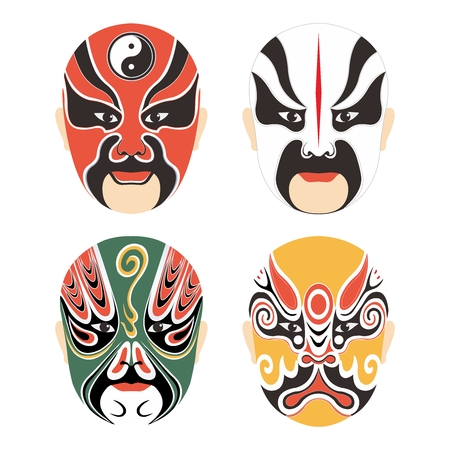 cantonese: Vector Traditional Chinese Cultural Opera Mask Set Collection isolated on white