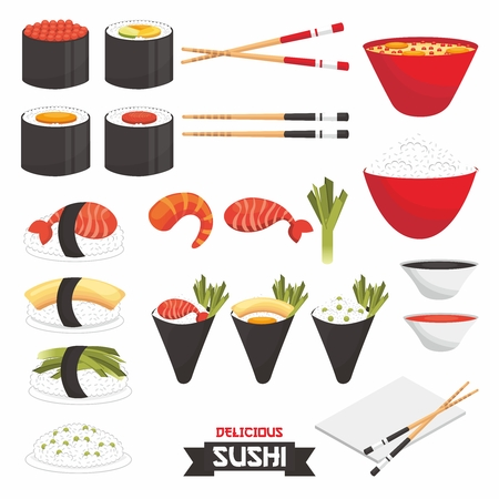 japanese cuisine: Vector Sushi and Japanese Cuisine Illustration Collection, isolated on white background Illustration
