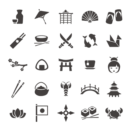 cultural: Vector Japanese Black and White Cultural Icon Collection