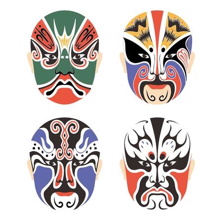 ベクトル伝統的な中国文化オペラ マスク設定コレクション白で隔離