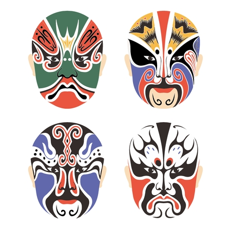 traditional culture: Vector Traditional Chinese Cultural Opera Mask Set Collection isolated on white