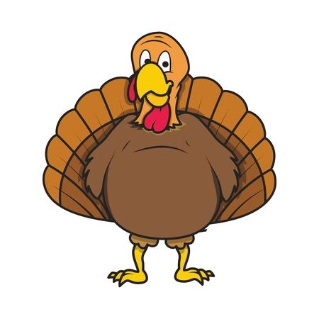 roast turkey: Vector Retro Cartoon Turkey Illustration, standing on white background Illustration
