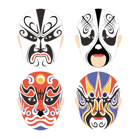 Vector Traditionele Chinese Culturele Masker van de Opera Set collectie op wit wordt geïsoleerd