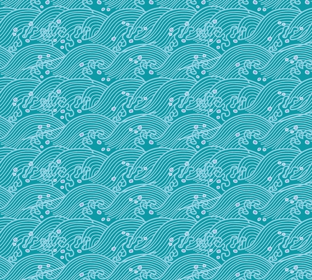 Vector Seamless Repeating Japanese Pattern Illustration, tsunami wave Vectores