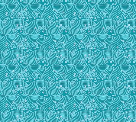 Vector Seamless Repeating Japanese Pattern Illustration, tsunami wave Vettoriali