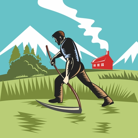 harvesting: Vector Vintage Agriculture Farmland Illustration, farmer harvesting with scythe